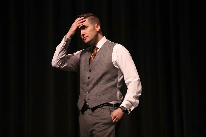 Richard Spencer speaking at the Curtis M. Phillips Center for the Performing Arts on Oct. 19, 2017, in Gainesville, Florida.