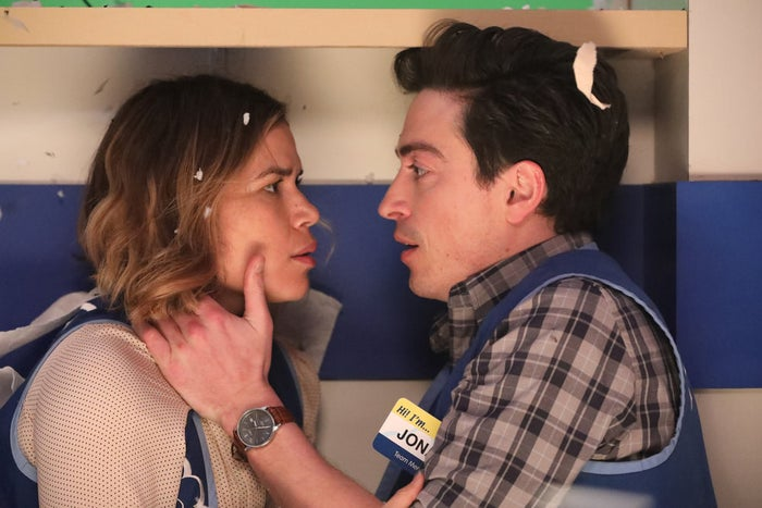 Amy (America Ferrera) and Jonah (Ben Feldman) after their first kiss in the Season 2 finale of Superstore.
