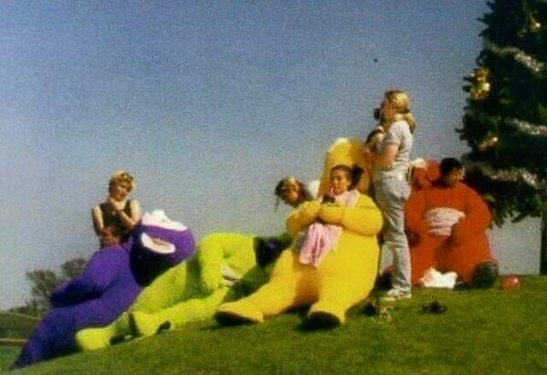 The Teletubbies without their heads: