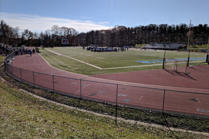 The track and football field at Holmdel High School.
