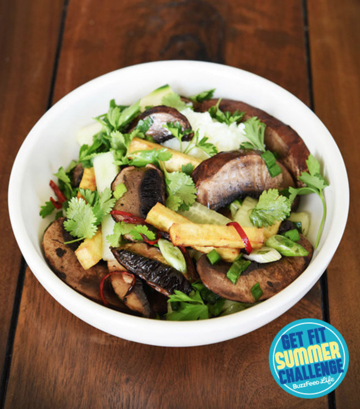 This bowl is low in calories (316) but high in protein (36 grams). Get the recipe here.