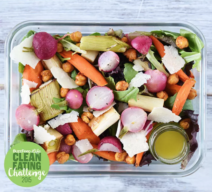 This salad has over 21 grams of protein mostly thanks to the chickpeas and Parmesan. Get the recipe here.