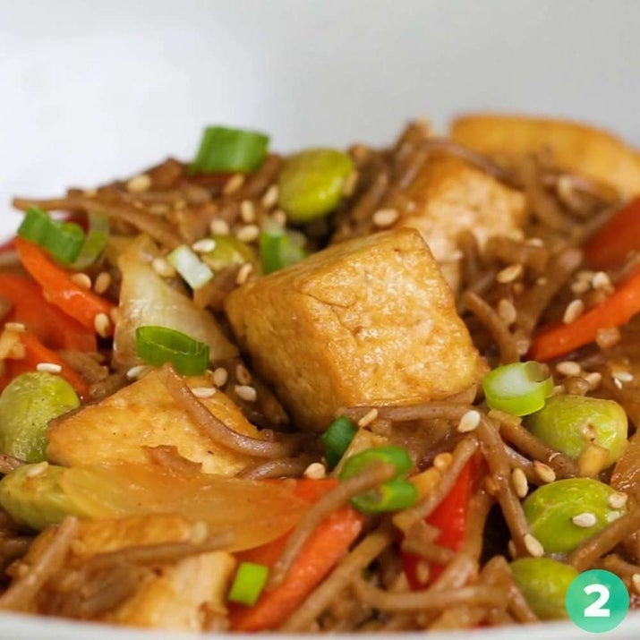 Delicious and protein-packed, thanks to the soba noodles, edamame, and tofu. Get the recipe here.