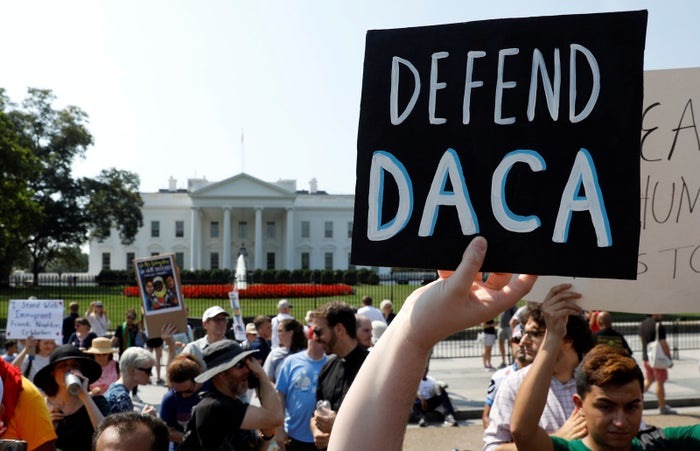 Demonstrators in front of the White House protest the rescission of DACA on Sept. 5, 2017.