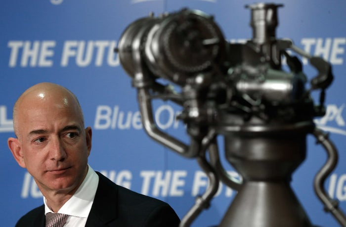 Jeff Bezos, the founder of Blue Origin and Amazon, appears at a press conference to announce the new BE-4 rocket engine in 2014.