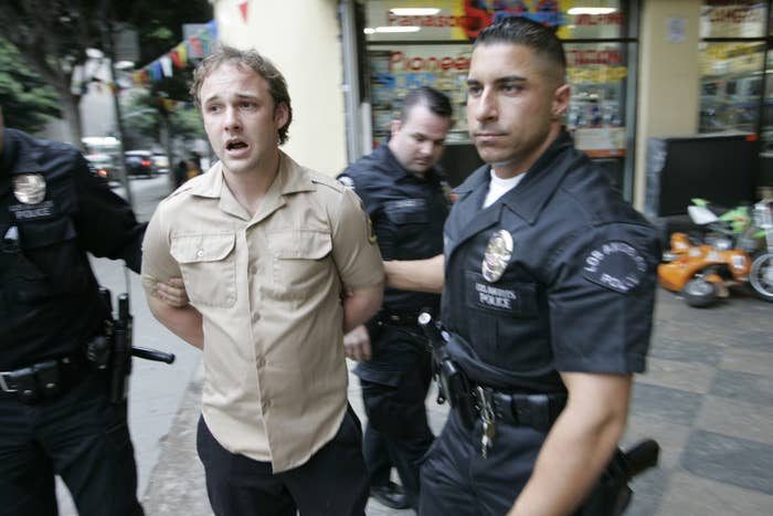 Brad Renfro is arrested for allegedly buying what he thought was heroin from undercover police officers in downtown Los Angeles, 2005.