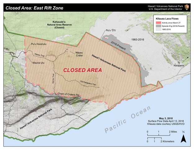 A small section of Hawaii Volcanoes National Park was also closed, although the majority of the new volcanic activity is outside of the area. Hawaii County officials also closed a lava viewing area in Kalapana, located in lower Puna.