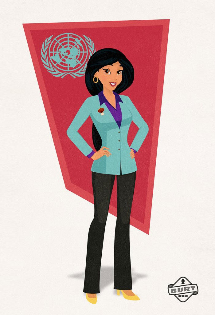 """""""Jasmine has always fought for what's right and for change where it is needed -- she's not a prize to be won. A natural politician, she now advocates for her country of Agrabah at the United Nations. One of her primary initiatives is protecting women's rights by ensuring that women are treated fairly across the globe."""""""