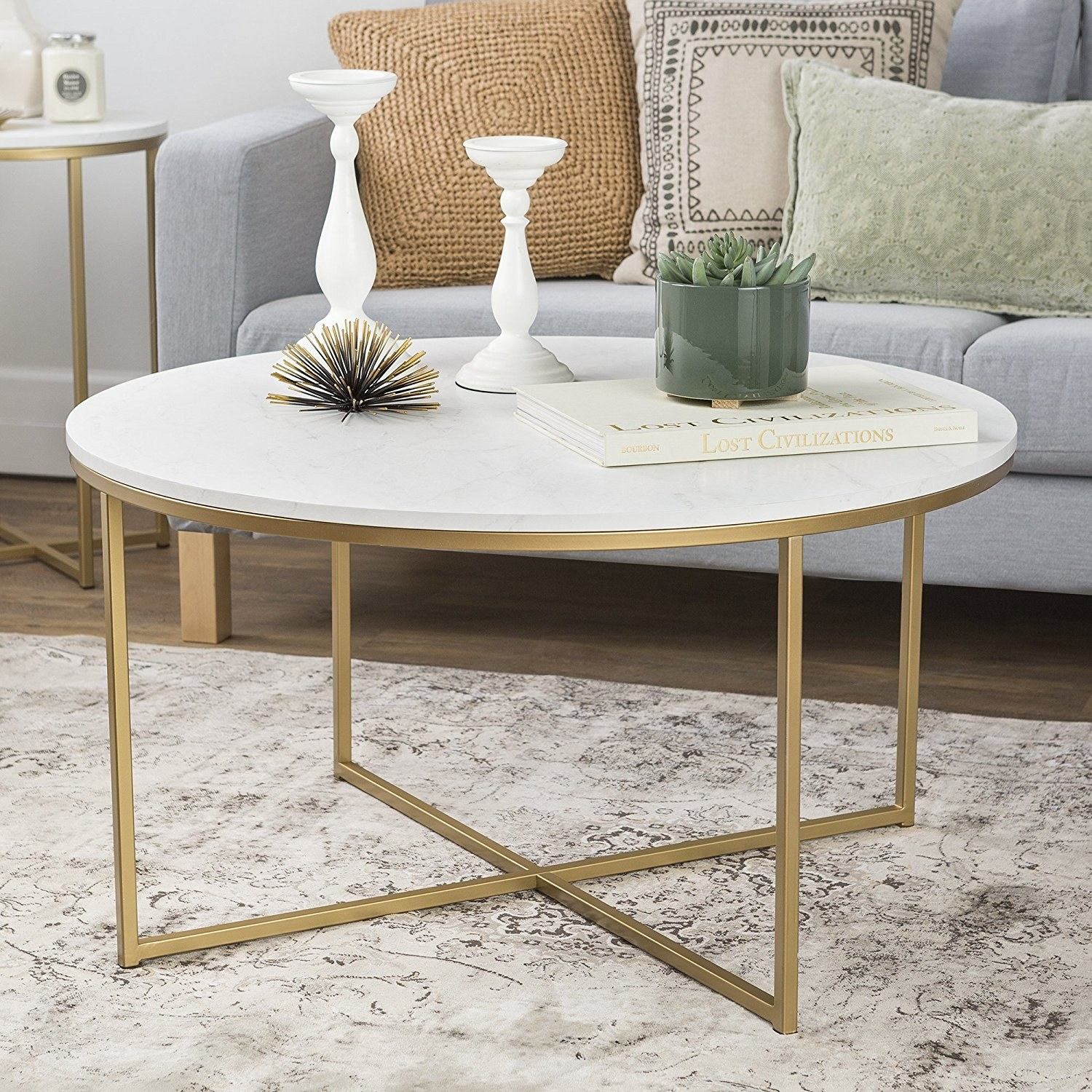 The gold and faux marble round table