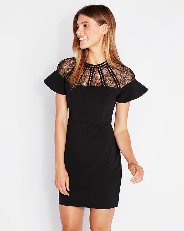 65d9c0707ce7e A lace-inset LBD that s certainly not afraid to ~ruffle~ a few feathers or  slay the dance floor — actually