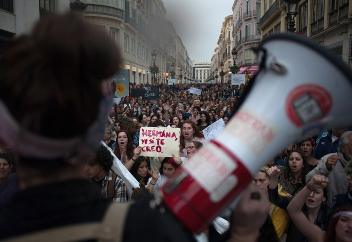 Women take to the streets of Malaga, Spain, to protest the nine-year prison sentence —a charge protesters believe is not strong enough — of five men accused of gang raping an 18-year-old woman.