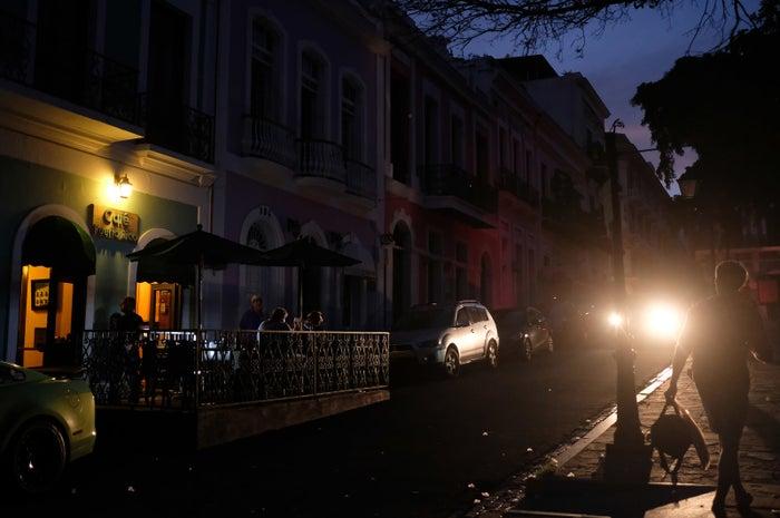 San Juan during a power outage April 18.