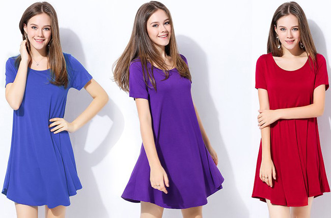 """Promising review: """"I love this dress. It is comfy and soft, plus it fits great. I'm very curvy, so I was concerned it might be a bit A-line style. But it is flowing, but not too big. I ordered two different colors, and I'm so happy I did!"""" —DesignerNails Price: $5.98+ (available in sizes S-3XL and 25 colors)"""