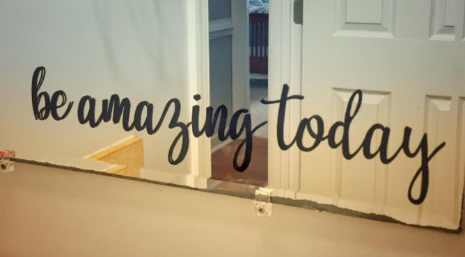 """The decal comes in three parts — the backing paper, the sticker itself, and the clear transfer tape. Promising review: """"This decal was super easy to apply. It looks great in the bathroom and is an awesome daily reminder to my kids."""" —Amanda R ReedPrice: $2.45"""