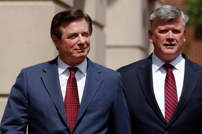 Paul Manafort (left) and his attorney Kevin Downing.