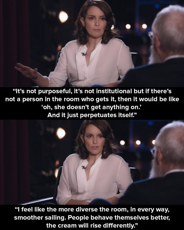 Fey said that without women being in the room in the first place, opportunities for women writers will not develop.