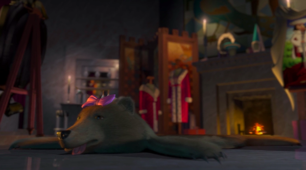 That's because Lord Farquaad turned her into a bear skin rug!