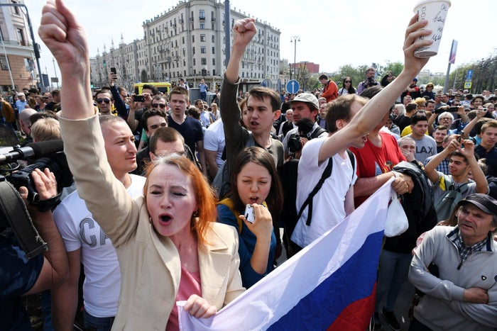 Thousands turned out in cities nationwide to demonstrate ahead of Putin's inauguration on Monday, which will see him take up another six-year term.OVD-Info, a group that monitors political repression in Russia, reported on Twitter that by 7 p.m. local time more than 1,300 people had been detained in 21 cities across the country.