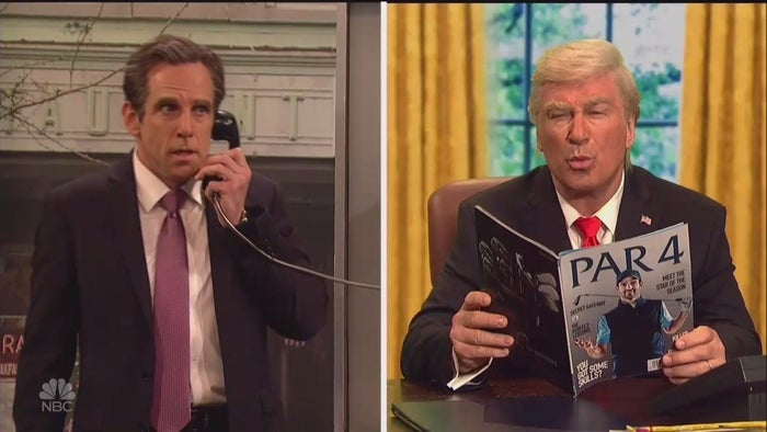 """""""Mr. Trump, I don't know what to do; you keep changing your story on the Stormy Daniels payment,"""" Cohen says.Trump, played by actor Alec Baldwin, suggests they call up """"the sharpest legal mind since My Cousin Vinny"""" — Rudy Giuliani."""