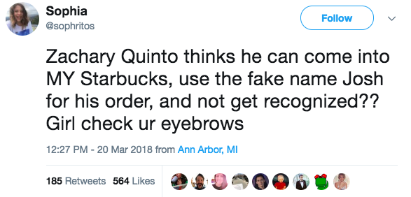 Zachary Quinto was caught using a fake name at Starbucks and then had to address it on Late Night With James Corden: