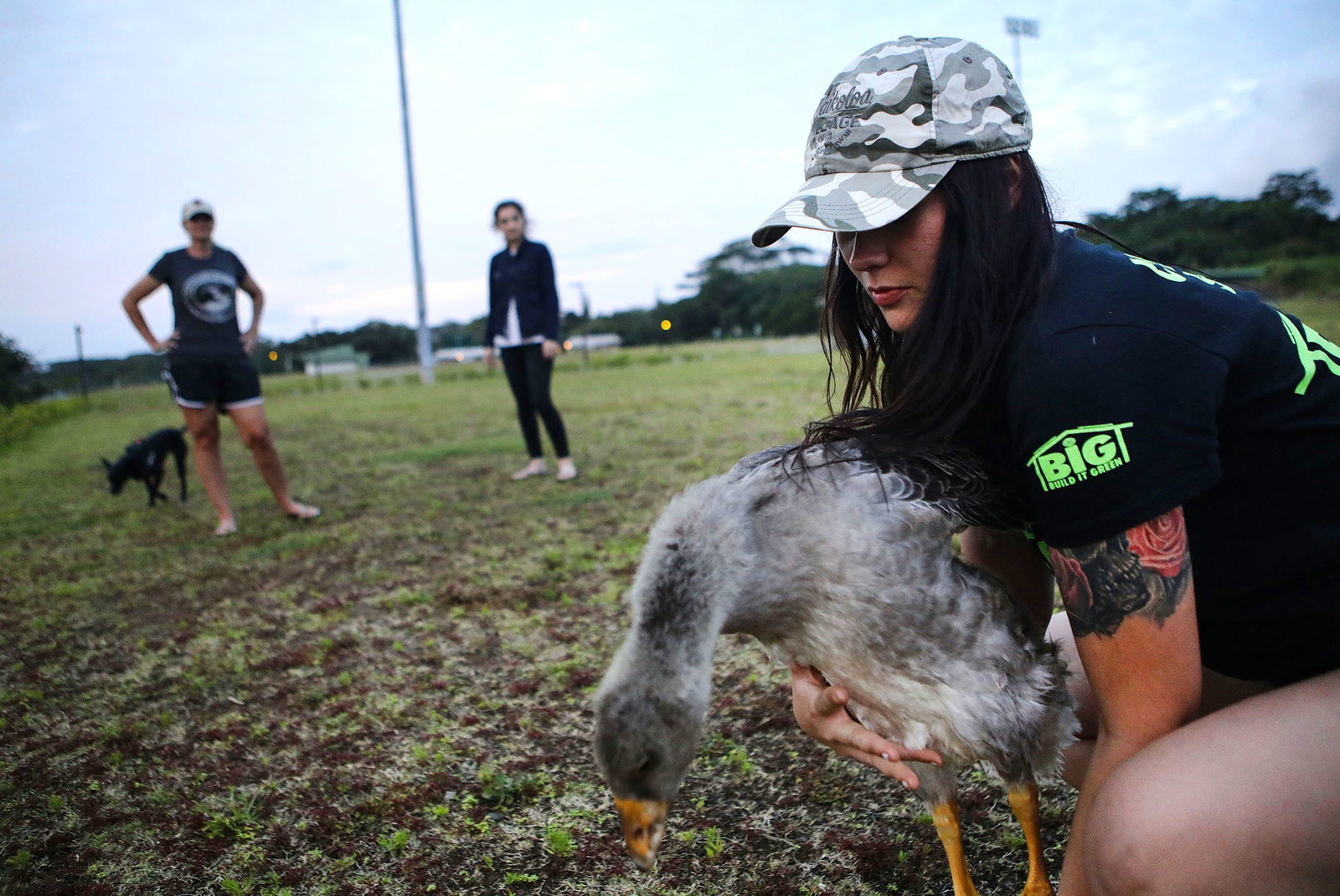 Evacuees Stacy Welch, Taylor Burns, and Maddy Welch gather with their pet goose and dog outside the emergency shelter in Pahoa.