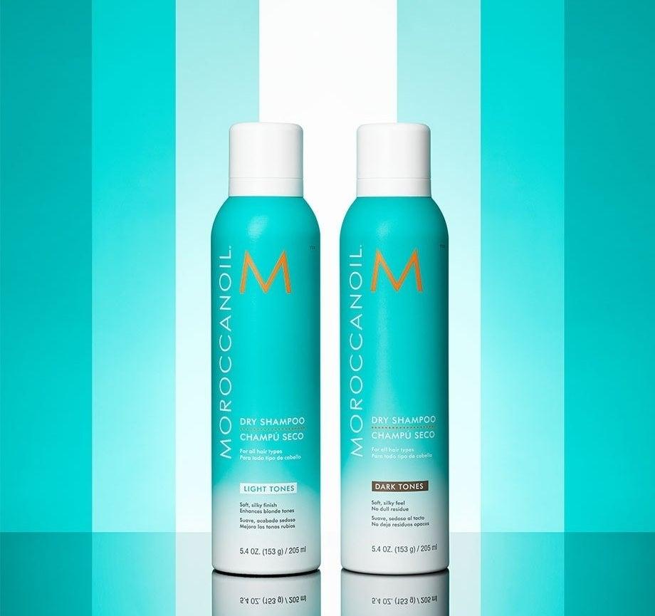 dry shampoo bottles in dark and light options