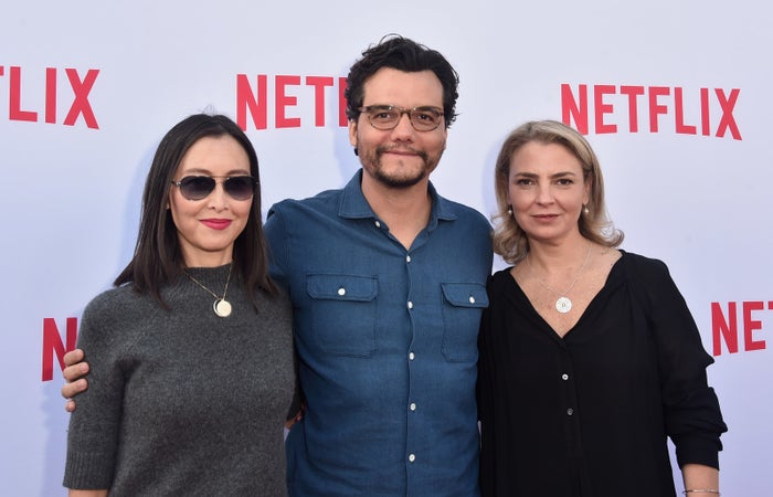 Carla Hool (right) with actor Wagner Moura (center) and casting director Carmen Cuba at the Netflix Emmy Season Casting Event in Los Angeles, June 2016.