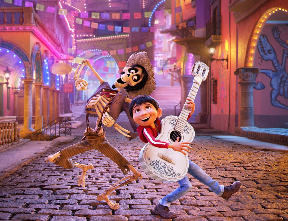 Héctor voiced by Gael García Bernal (left) and Miguel voiced by Anthony Gonzalez in Coco.
