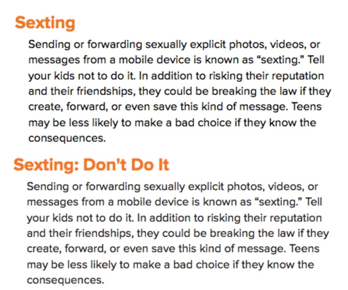 "The ""sexting"" entries from 2014 (top) and 2018."