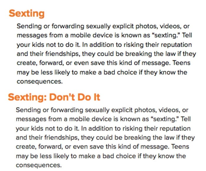 """The """"sexting"""" entries from 2014 (top) and 2018."""