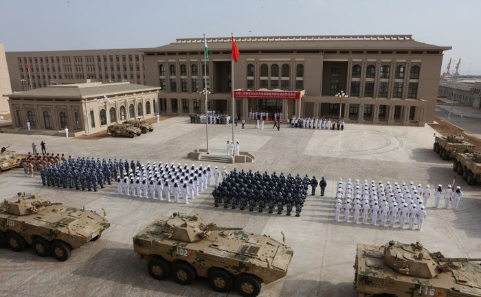This photo taken on Aug. 1, 2017, shows Chinese People's Liberation Army personnel attending the opening ceremony of China's new military base in Djibouti.
