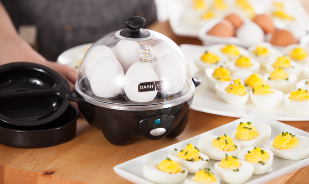 A rapid egg cooker, which prepares six eggs in any manner your heart desires — hard-, medium-, and soft-boiled eggs, two poached eggs, scrambled eggs, you name it.