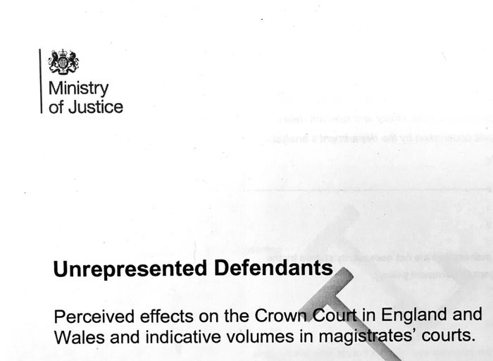 The title page of the leaked MoJ report