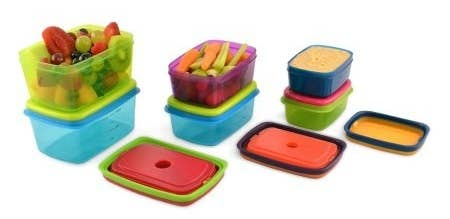 Includes 2 1-cup containers and lids, 2 2-cup containers and lids, 1 snacker, 1 breakfast bowl, and 6 snap-in ice packs. Price: $15.98