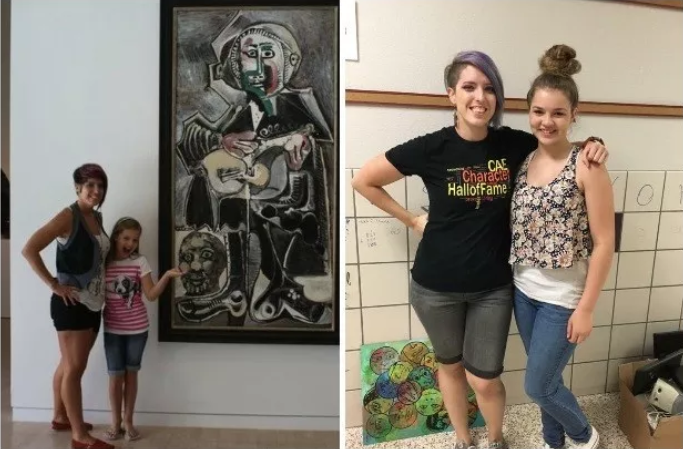 Left: Student Chloe Wakeland, then 9, at the Dallas Museum of Art with Bailey. Right: Bailey and Wakeland, 13.