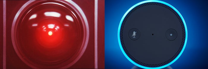 HAL from Stanley Kubrick's 2001: A Space Odyssey (left) and the Amazon Alexa.