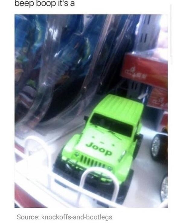 """text reads """"beep boop it's a"""" followed by a picture of an off-brand toy car that says """"joop"""" on the hood"""