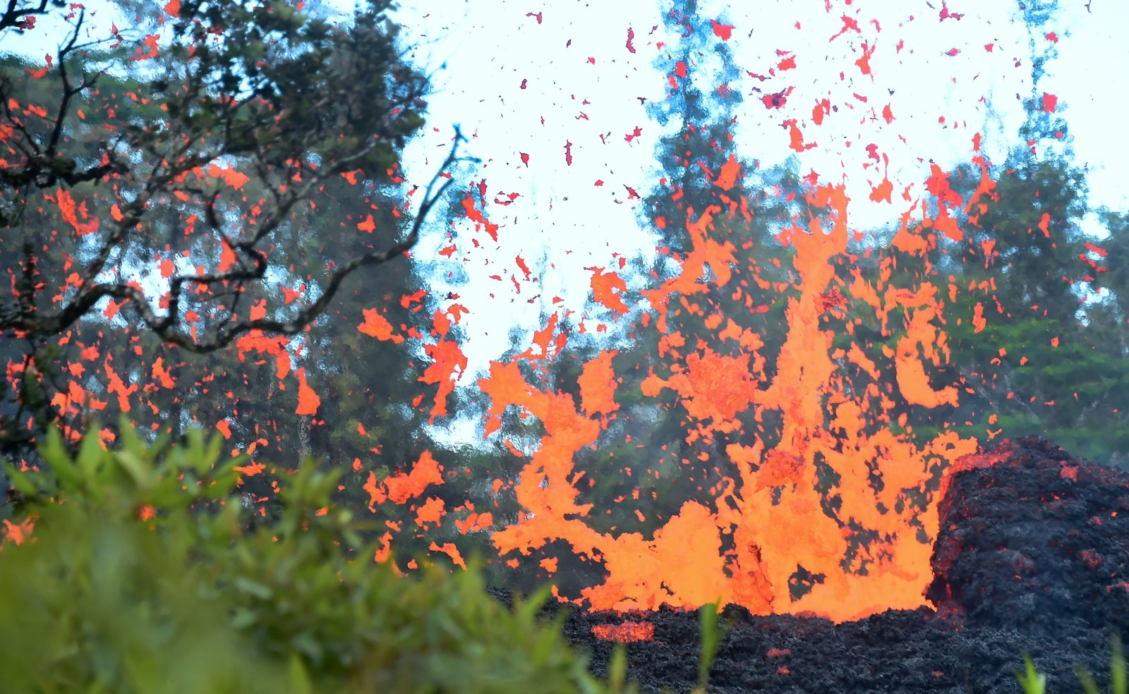 Lava is seen spewing from a fissure in the Leilani Estates subdivision on Hawaii's Big Island on 4 May.