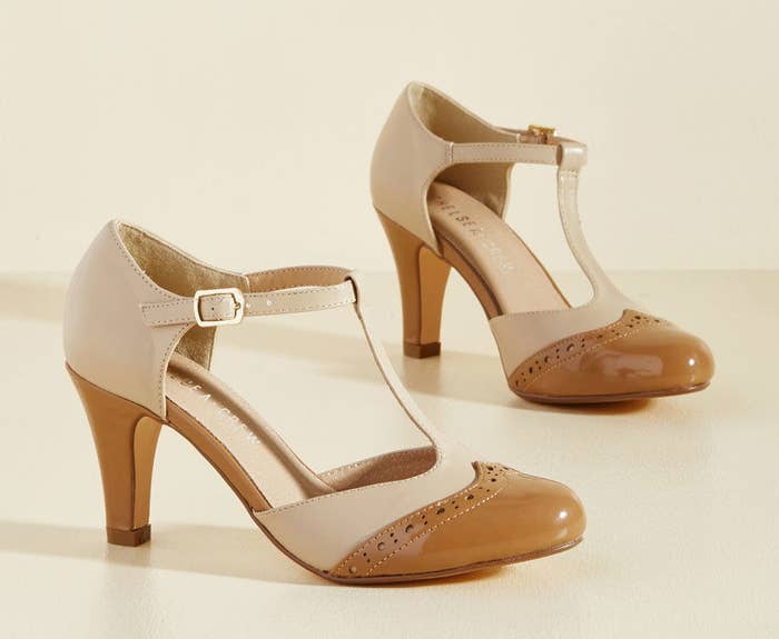 8560fdc0bad Retro T-straps neutral enough to give your nude sandals a break when you  need a few extra inches.