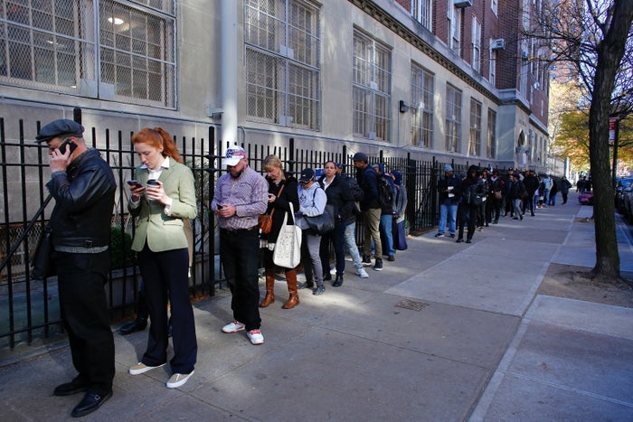 People waiting to vote in the 2016 presidential election.