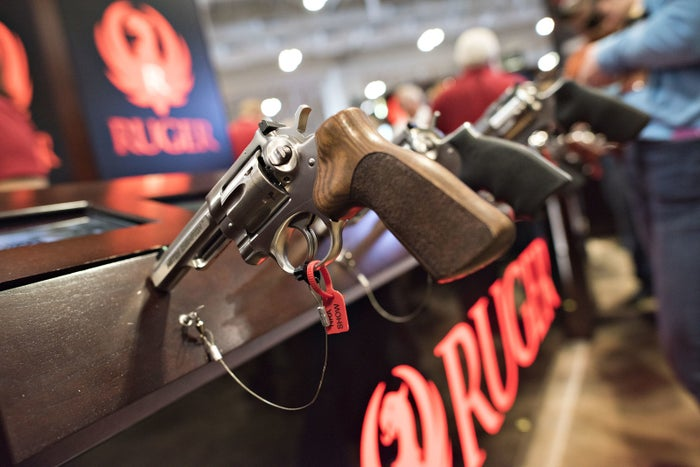 A revolver sits on display in the Sturm Ruger booth at the National Rifle Association Annual Meetings and Exhibits.