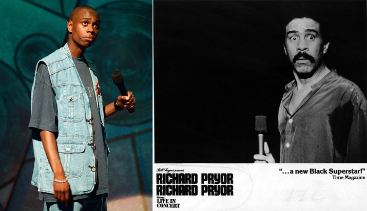 Dave Chappelle performing a stand-up routine in 1994 and Richard Pryor: Live in Concert, 1980.