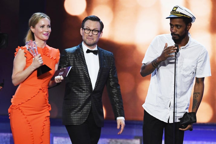 Stanfield accepting the Best Comedy Series award for Silicon Valley at the Critics' Choice Awards, 2016.
