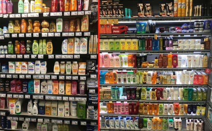 Photos prises en mai 2018 dans deux supermarchés d'un quartier populaire de l'est parisien où vivent de nombreux.ses noir.e.s. Dans l'un des deux magasins, seule la marque Garnier au beurre de karité pour «cheveux frisés » (sans précision sur l'adaptation aux cheveux crépus) s'adresse aux personnes noires.