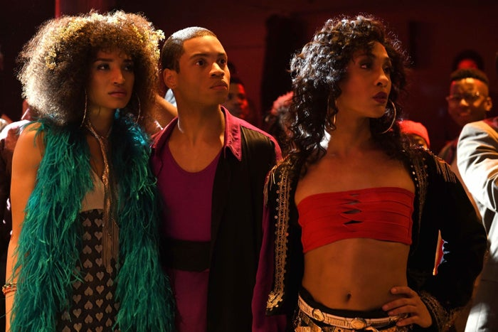 Indya Moore as Angel, Ryan Jamaal Swain as Damon, and Mj Rodriguez as Blanca in the first episode of Pose.