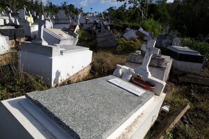 Graves destroyed during Hurricane Maria in September 2017.