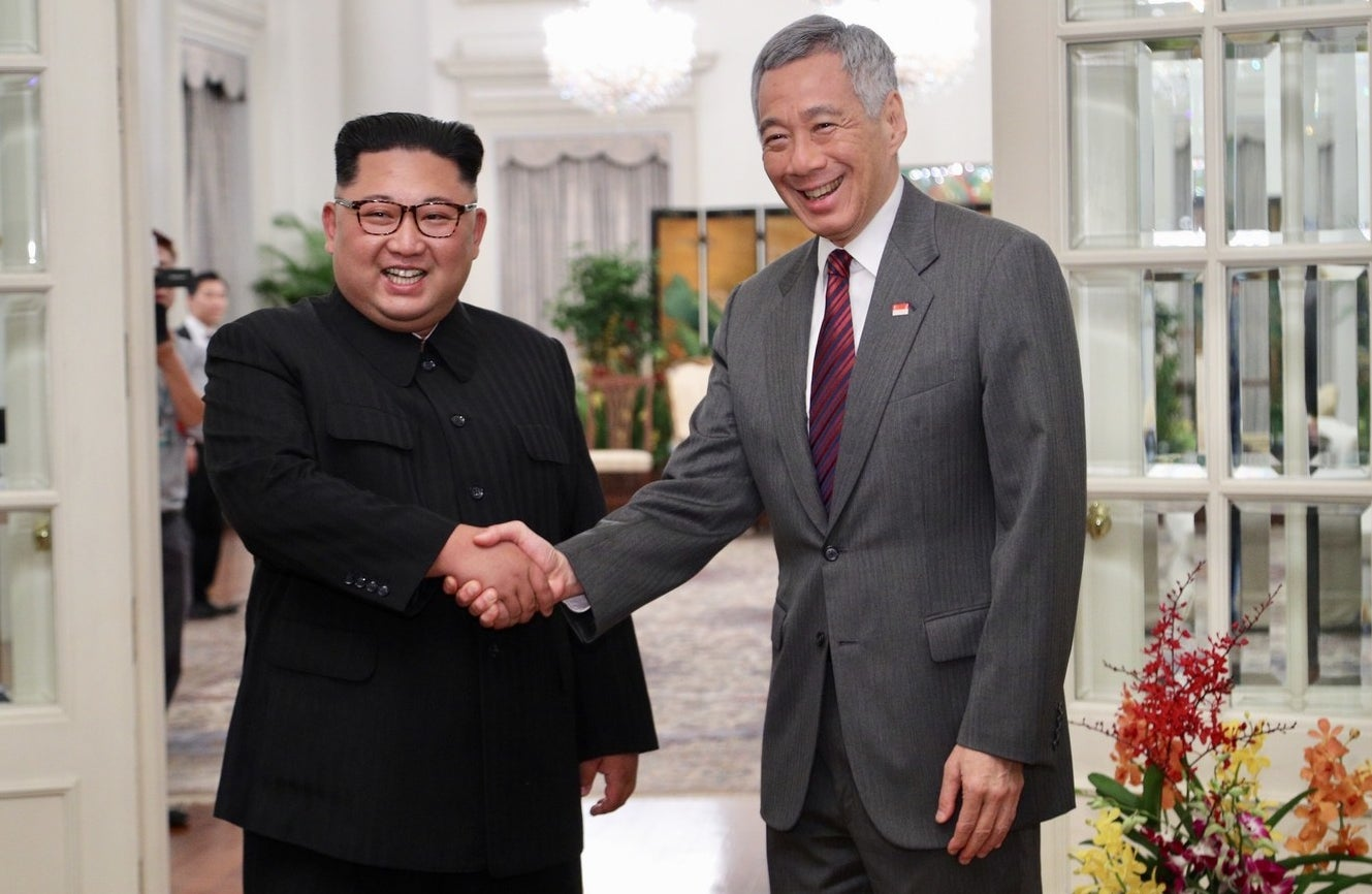 North Korean leader Kim Jong Un with Singapore's Prime Minister Lee Hsien Loong on Sunday.
