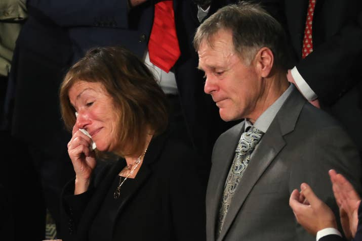Fred and Cindy Warmbier are acknowledged during the State of the Union address in January this year.