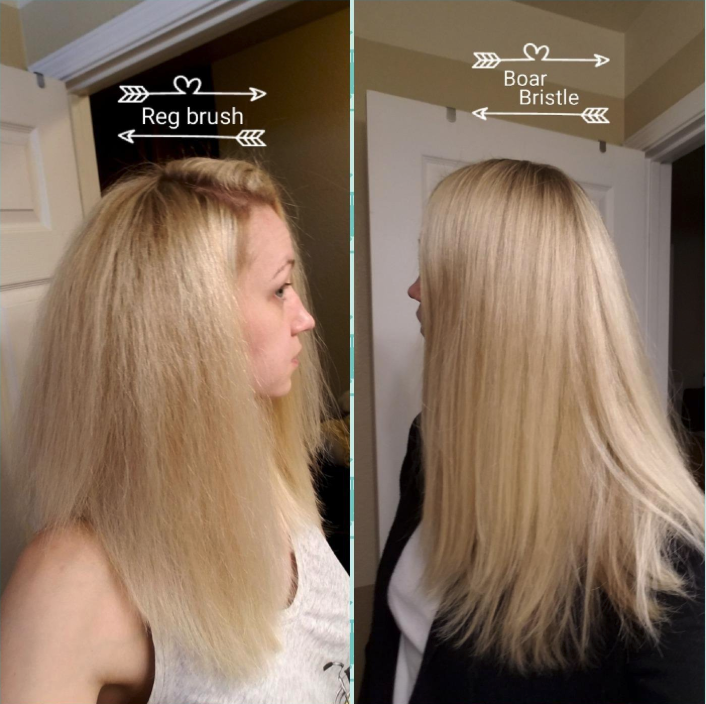 A reviewer showing the difference between blowouts: a frizzier one on the left using a regular brush, a sleeker one on the right using the bristle brush