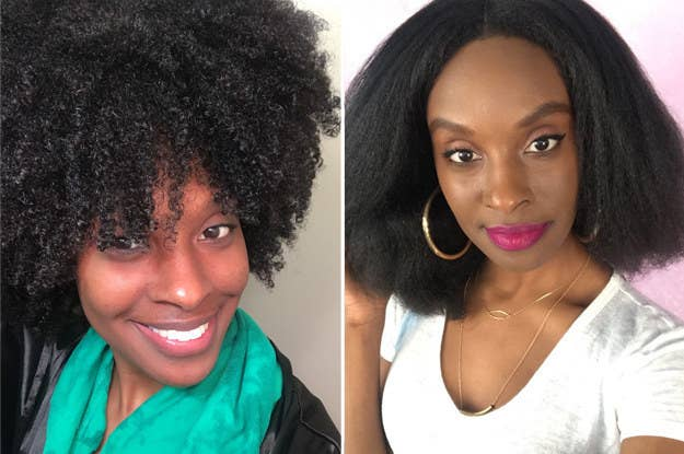 A before/after of Essence's 4C curls on the left and her hair blown out on the right